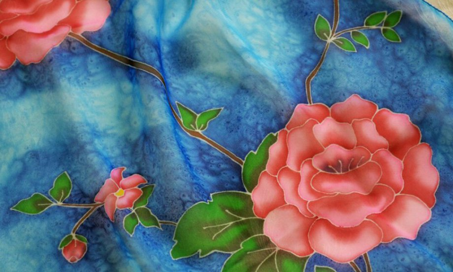 Батик — Панно с цветами