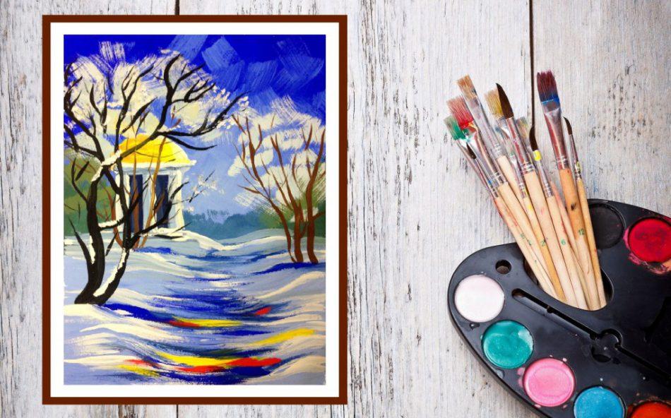 Рисуем гуашью «Зимний лес»