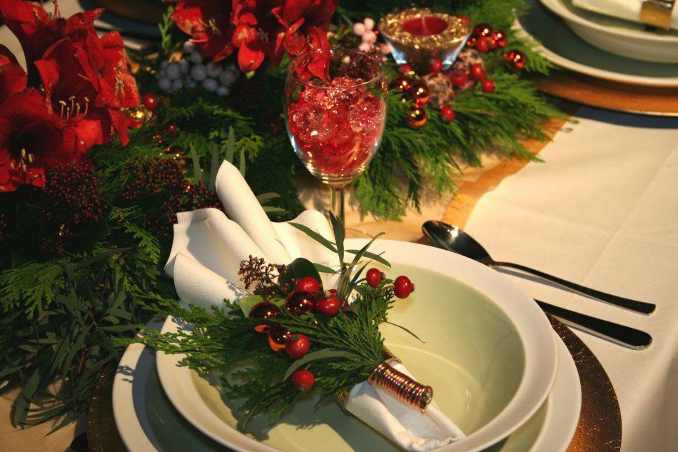 Декорация рождественского стола