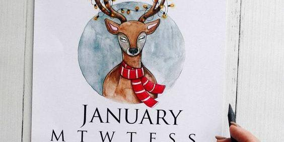 Создаём акварельный календарь (месяц: январь)