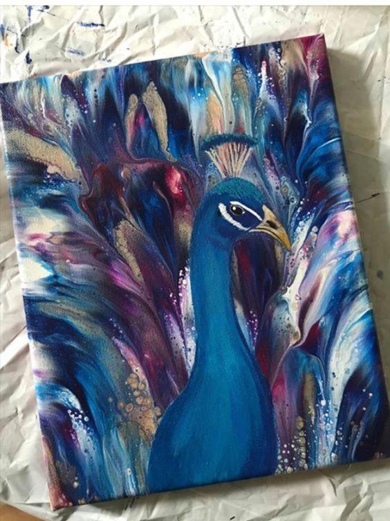 МК по живописи на холсте «Королевский павлин»