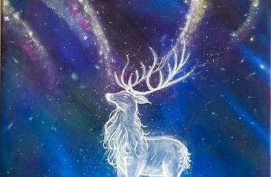 МК по живописи на холсте «Северный олень»