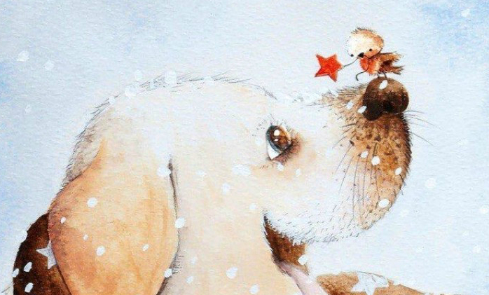 МК по живописи на холсте «Щенок Звездочёт»