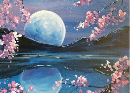 Живопись на холсте «Ночная сакура»
