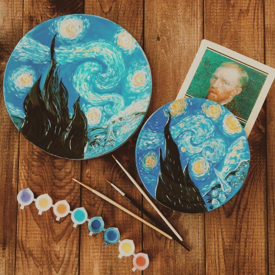 Гончарный мастер — класс «Звездная ночь» по картине Ван Гога.
